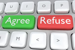 Agree/Refuse concept. Render illustration of computer keyboard with the print Agree on a green button, and the print Refuse on a nearby red button Stock Photography