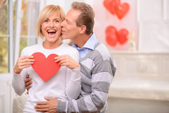Agreeable couple celebrating St Valentine day Royalty Free Stock Images
