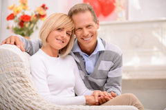 Agreeable couple celebrating St Valentine day Royalty Free Stock Photography