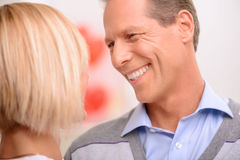 Agreeable couple celebrating St Valentine day Royalty Free Stock Photo