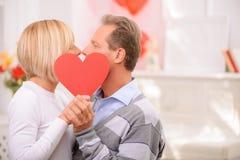Agreeable couple celebrating St Valentine day Stock Photo