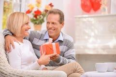 Agreeable couple celebrating St Valentine day Royalty Free Stock Image