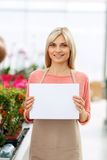 Agreeable florist holding folder Stock Images