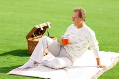 Agreeable man lying on the grass Stock Photo