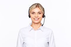 Agreeable TV announcer being involved in work Royalty Free Stock Image