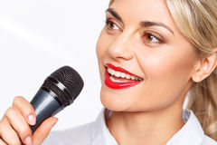 Agreeable TV announcer being involved in work Royalty Free Stock Photos