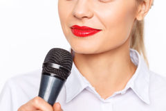 Agreeable TV announcer being involved in work Stock Image