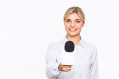 Agreeable TV announcer being involved in work Stock Photo
