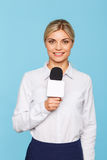 Agreeable TV announcer being involved in work Stock Photos