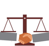 Agreement. View of shake hand with justice scale background Royalty Free Stock Image
