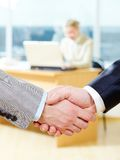 Agreement. Close-up of corporate agreement on the background of businesswoman Stock Photo