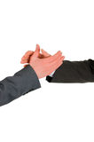 Agreement. Gesture of hand shake of two men of businessmen in agreement Royalty Free Stock Images