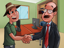 Agreement. Two people shake hands, they are doing a deal Stock Photography