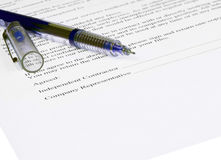 Agreement. Paper form with a pen Royalty Free Stock Photos