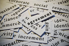 Agreement. Words related with business. Cut-out of words related with business activity stock photos