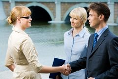 Agreement. Portrait of business partners handshaking at meeting and looking at each other royalty free stock photography