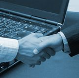 Agreement in the big office. Tehcnology Royalty Free Stock Photos
