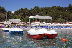 Agreement boats for rent. Waiting for tourists royalty free stock image