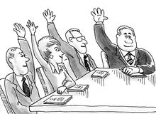 Agreement. Business cartoon illustration showing business people all with their arms raised Stock Images