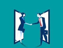 Agreement. Business people handshake on smartphone. Concept business illustration. Vector flat Royalty Free Stock Image