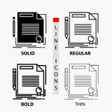 agreement, contract, deal, document, paper Icon in Thin, Regular, Bold Line and Glyph Style. Vector illustration vector illustration