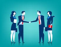 Agreement cooperation. Business team shaking hands. Concept busi. Ness illustration. Vector  flat Stock Image