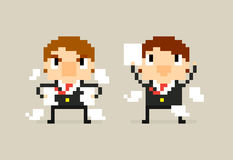Agreement and Disagreement. Two pixel art office characters with agreement contract and angry disagreement Stock Photography