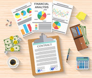 Agreement documents concept. Agreement documents concept, contract signs stamps, documents folder, financial reports, wallet cash and coins, calculator, coffee Stock Photo