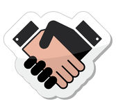 Agreement handshake icon - label. Shiny icon with businessman shaking hands. Agreement, meeting, job offer, signing contract, deal concept Royalty Free Stock Photo