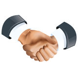 Agreement. Handshake icon of to en in grey color suits Stock Photos