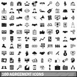 100 agreement icons set, simple style Stock Image
