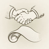 The agreement. Illustration with handshake above signed agreement drawn in vintage style stock illustration