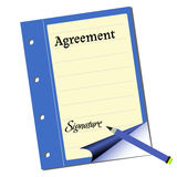 Agreement. Isolated blue document with the word agreement written on its first page Royalty Free Stock Photos