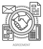 Agreement line icons. Agreement infographic metaphor with line icons. Project agreement concept for website and infographics. Vector line art icon isolated on Stock Photos