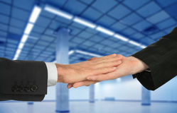 The agreement on rent, hands and hall Stock Photos