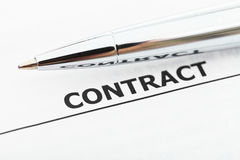 Agreement and silver pen close up Stock Images