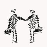 Agreement sketch. Sketch with two businessmen shaking hands while holding suitcases in their hands Royalty Free Stock Photo