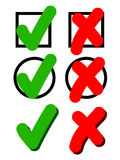 Agreement synbol in red and green. Agreement symbol in box, check mark Royalty Free Stock Photo