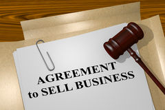 Agreement to Sell Business concept. 3D illustration of AGREEMENT to SELL BUSINESS title on legal document vector illustration