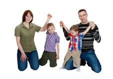 Agregado familiar com quatro membros Imagens de Stock Royalty Free