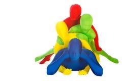 Agregado familiar com quatro membros colorido imagens de stock