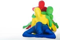 Agregado familiar com quatro membros colorido foto de stock royalty free