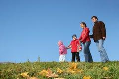 Agregado familiar com quatro membros do outono Fotografia de Stock Royalty Free