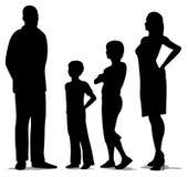 agregado familiar com quatro membros ereto, silhueta ilustração stock