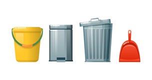 Agregado familiar, limpando restos e poeira, limpeza, assoalhos da limpeza, lixo ilustração do vetor