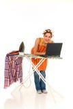 Agregado familiar, passando, Internet Imagens de Stock