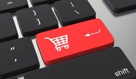 Agregue al bot?n del carro Botón rojo en línea que hace compras libre illustration