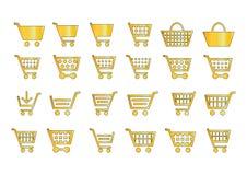 Agregue al oro de los iconos del carro libre illustration