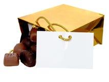 Agregue el texto a este bolso de chocolates foto de archivo libre de regalías