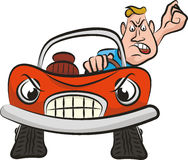 Agressie op de weg - gekke bestuurder stock illustratie